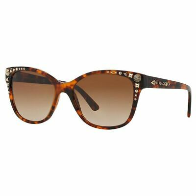New VERSACE VE 4270 5074/13 56mm Havana Gold Studded Sunglasses Italy