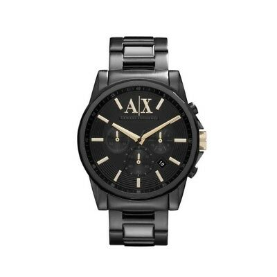 ARMANI EXCHANGE AX2094 Banks All black Gold Accent Chronograph 45MM BRAND NEW (Armani Exchange All Black Watch)