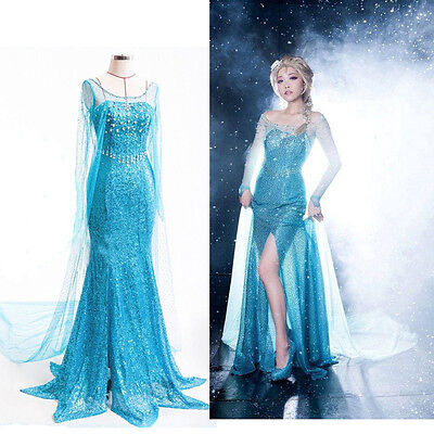 Ladies Adult Elsa Costume Frozen Fancy Dress Outfit UK 8/10/12/14/16/18 (Elsa Frozen Adult Kostüme)