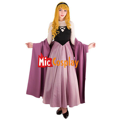 Princess Costumes Aurora Maiden Dress Adults Purple Pink Corset Cape