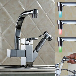 LED Pull Out Spray Swivel Mixer Tap Hand Held Faucet Kitchen Basin Chrome Sink