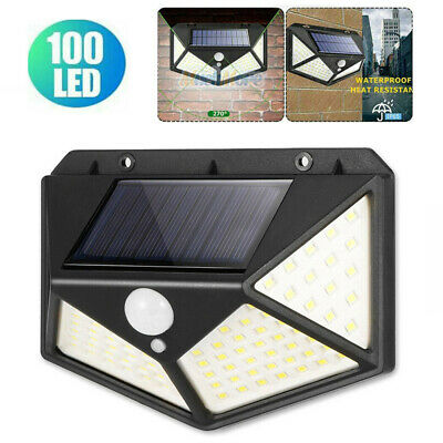 100 LED Solar Luz de Pared Impermeable Sensor de Movimiento Lámpara Exterior...