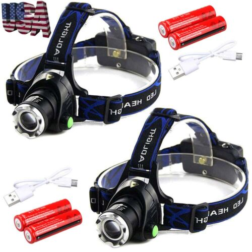90000Lumen T6 LED Zoomable Headlamp USB Rechargeable 18650 H