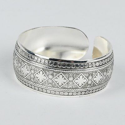 Silver Boho Antique Pattern Style Cuff Bangle Bracelet Large statement Diamond