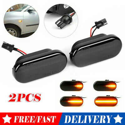 2X Dynamic Flowing LED Side Marker Indicator Light Repeater for VW Golf MK4 Ford