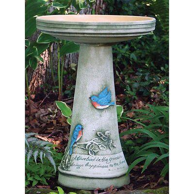 Bird's Choice Burley Clay Handpainted Bluebird Bird Bath Large Green