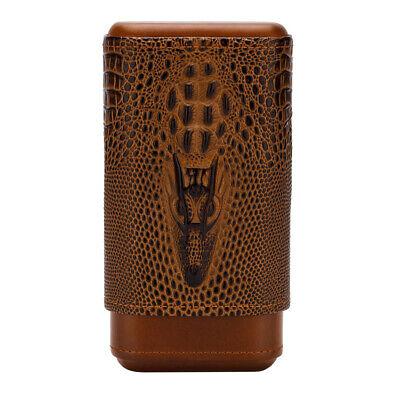LUBINSKI 3 Tube Cigar Holder Case Cedar Wood+Leather Travel Humidor Xmas Gift Cigar Tube Gift