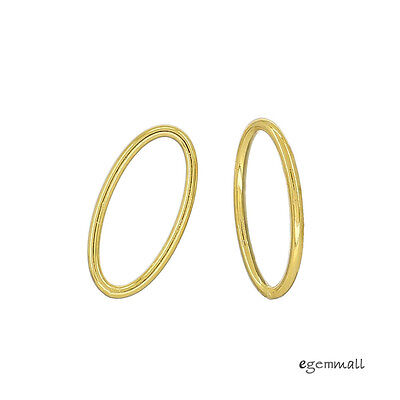 4 Gold Plated Sterling Silver Closed Oval Jump Ring Link Connector 7x14mm #99351