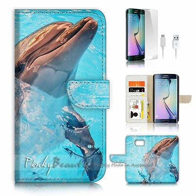( For Samsung S7 Edge ) Wallet Case Cover P2941 Dolphin
