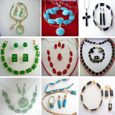 Women Jewelry Set Jade Turquoise Necklace Bracelet Ring Cufflink Pendant Earring