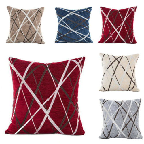 Home Decoration - 18x18 in Soft Chenille Geometric Home Decor Cushion Cover Square Pillow Case UK