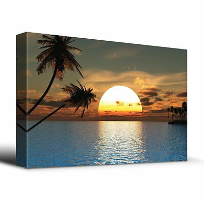 Tropical Sunset blue water endless summer - Canvas Art Home Decor - 16x24 (Sunset Water)