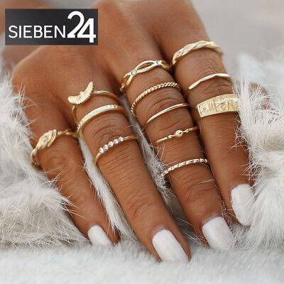 Ringset:12 Midi Ringe Fingerring Fingerspitzenring Knöchelring Gold Boho Kristal