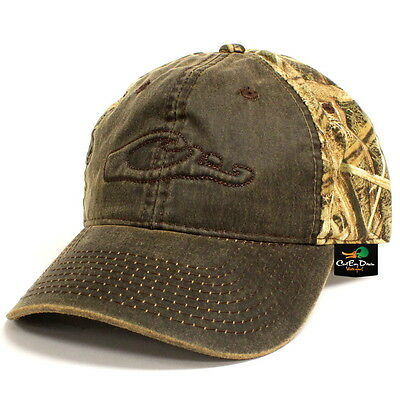 DRAKE WATERFOWL CAMO COTTON HAT LOGO BALL CAP WAX FRONT SHADOW GRASS BLADES  CAMO 1771fada324a