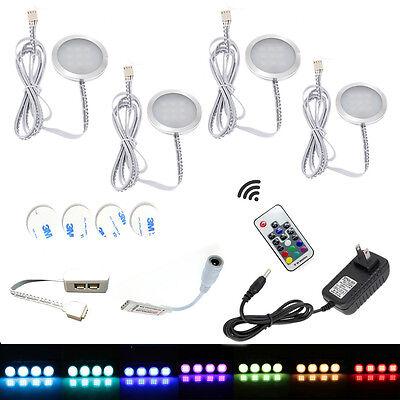 AIBOO Multi Color LED Cabinet Light 12V LED Under Cabinet Lighting 4X2W RGB