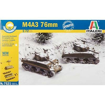Italeri 1/72 WWII US M4A3 76mm Tank Plastic Model Kit 7521 ITA7521