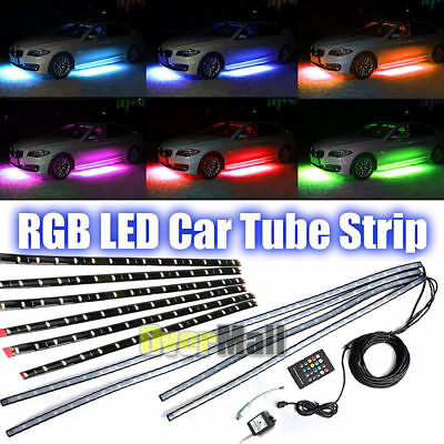 12pcs x RGB LED Strip Under Car Tube Underglow Underbody System Neon Lights Kit ()