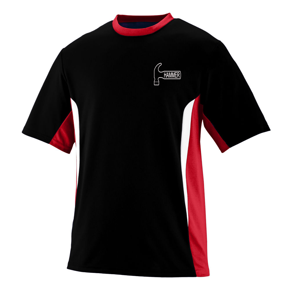 Hammer Men's Hawg Performance Jersey Bowling Shirt Dri-fit Black Red