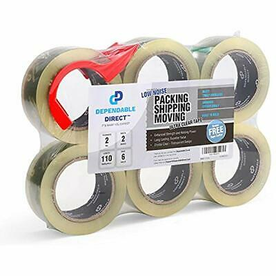 Ultra Quiet, Industrial Grade Clear Packing Tape (6 Rolls) - 110 Yards Per 2