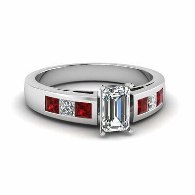 Princess Ruby Channel Set Engagement Ring 1.50 Ct Emerald Cut VVS2 Diamond GIA