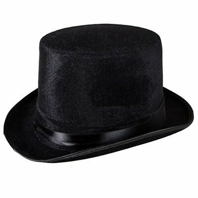 Black Deluxe Top Hat Magician Costume Mat Hatter Wedding Christmas Party Formal - Magician Hat