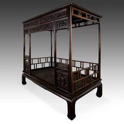Купить RARE ANTIQUE CHINESE CANOPY BED CARVED HARDWOOD FURNITURE CHINA 19TH C.