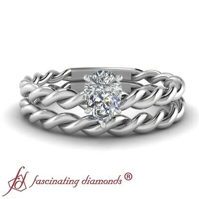 1/2 Ct Pear Shape Diamond Solitaire Allure Twist Wedding Ring Sets For Women GIA