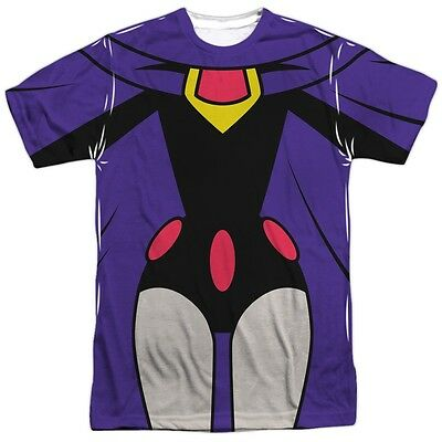 DC Comics Teen Titans GO Raven Costume Outfit Uniform Allover Front T-shirt top - Raven Dc Comics Costume