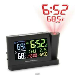 Hammacher Superior Projection Alarm Atomic Weather Clock LED large Display
