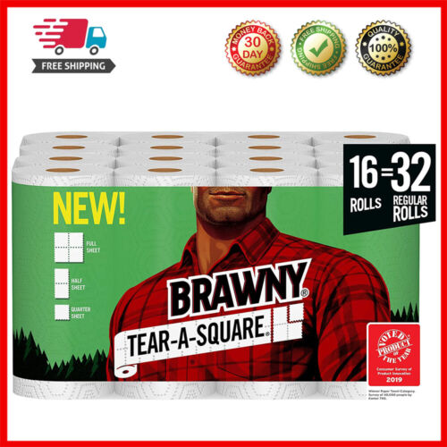 Brawny Tear-A-Square Paper Towels Quarter Size Sheets 16 Count of 128 Sheets