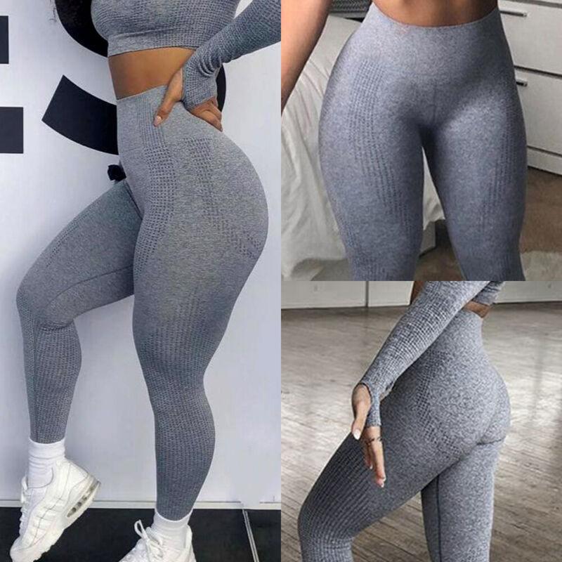 Damen Nahtlos Leggings Hohe Taille Sporthose Kompression Yoga Gym Trainingshosen