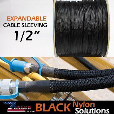 12 Braided Cable Nylon Wire Loom Conduit Polyethylene Tubing Sleeve 600inch