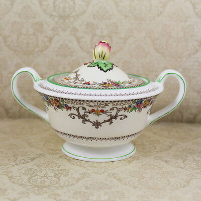 Minton Shaftesbury Pattern Covered Sugar Bowl with Green Trim