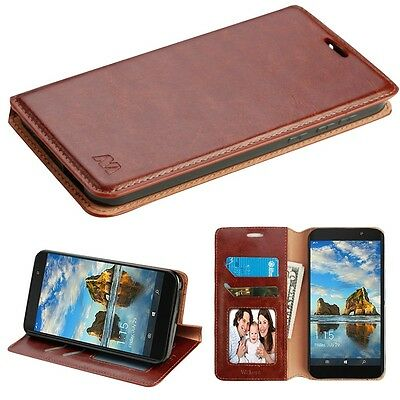 FOR ALCATEL TMOBILE REVVL WALTERS BROWN PU LEATHER WALLET FOLIO STAND CASE COVER