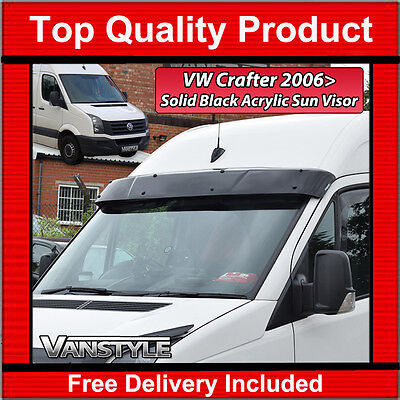 VW CRAFTER 2006+ BLACK ACRYLIC DARK SOLID SUNVISOR SUN VISOR WIND DEFLECTOR