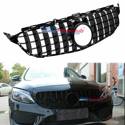 For Mercedes Benz C Class W205 2015-2018 GT R Style Black Bar Front Bumper Grill