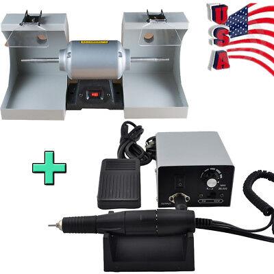 Usa Dental Lab Polishing Lathe Machine 2 Dust Hood35krpm Carving Grinding Unit