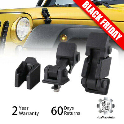 Pair Hood Latch Rubber Catch Bracket Replace Kit Fit 2007-2017 Jeep Wrangler -