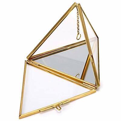 Jewelry Ring Display Holder - Pyramid Geometric Glass Box Wedding Bearer Gift