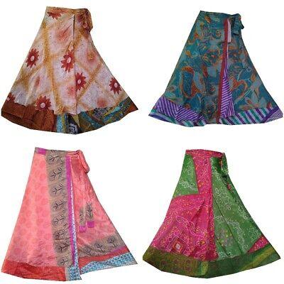 Indian Vintage Silk Skirt Women Wrap Bohemian Gypsy Hippie Boho Summer Dress