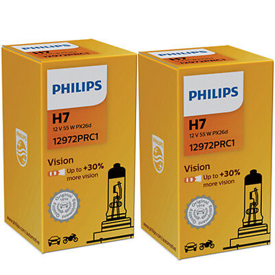 2 X PHILIPS VISION + 30% H7 Original Spare Part Halogen Headlight Bulb 12V 55W