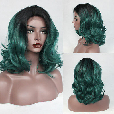 Synthetic Lace Front Wigs Black Women Ombre Green Color Short Wavy Bob Hair - Short Green Wig