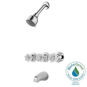 Pfister Bedford 3 Handle Spray Tub And Shower Faucet In Polished Chrome