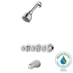 Pfister Bedford 3 Handle 3 Spray Tub And Shower Faucet In Polished Chrome