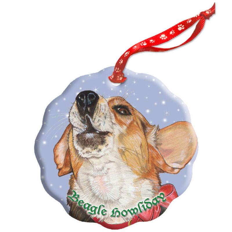 Beagle Holiday Porcelain Christmas Tree Ornament