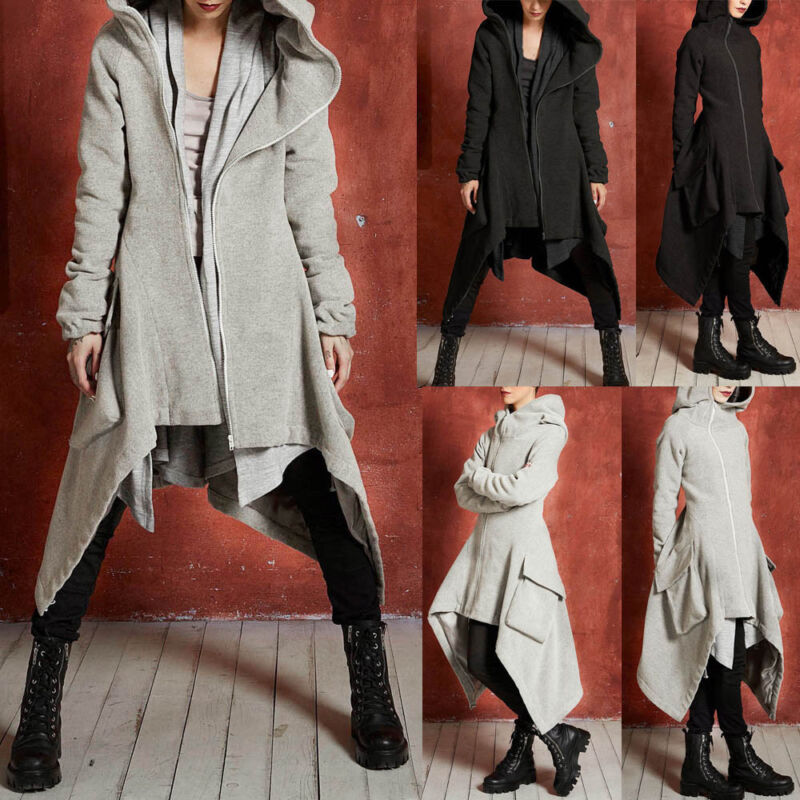 Womens Winter Casual Hoodie Zipper Loose Asymmetric Solid Quilted Coat Overcoat