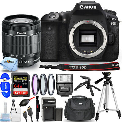 Canon EOS 90D DSLR with 18-55mm Lens + EXT BATT + 64GB + Flash Bundle USA SELLER