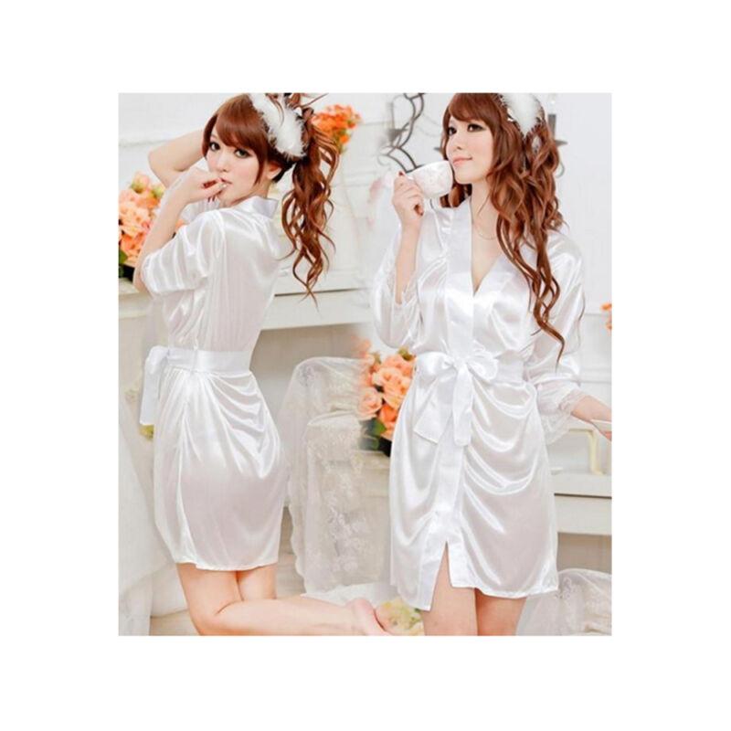 Woman%27s+Satin+Lace+Robe+%26+G+-+String+%2F+Size+S+-+White