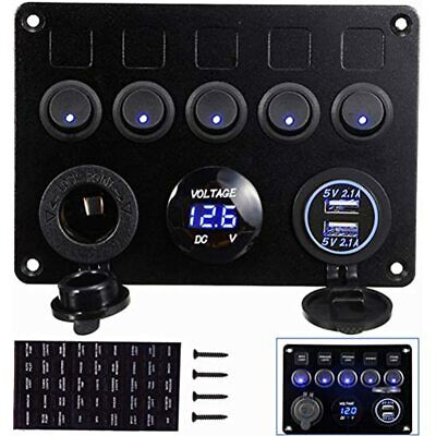 INTEFIRE 5 Gang Switch Panel For Boat ON-Off Marine Rocker Toggle Switches With