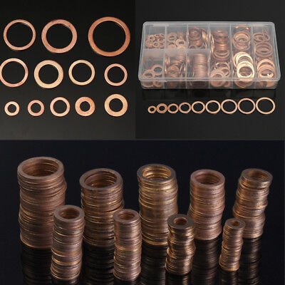 400X Solid Copper Washers Flat Ring Sump Plug Oil Seal Gasket Assorted for Car